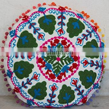 Handmade White Pouf Cover Throw Indian Hand Embroidered Cushion Cover Suzani Pillow Case