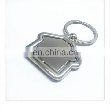 customized house shape blank zinc alloy metal keychains of