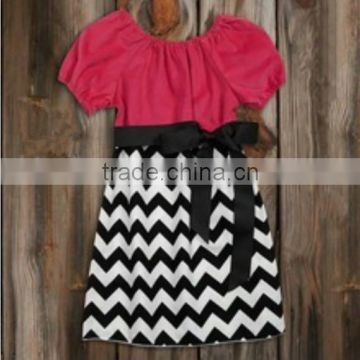 e1dcb8bad Wholesale boutique kids girl chevron dresses black white Zig-zag ...