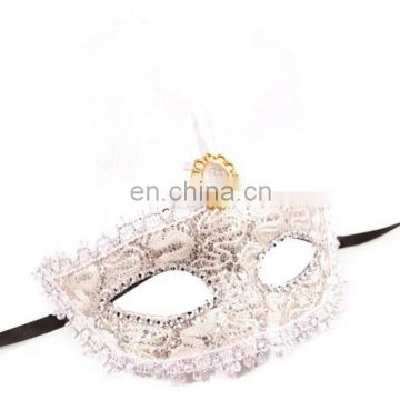 China Supplier 2015 Christmas Girls Cheap White Masks With Feather