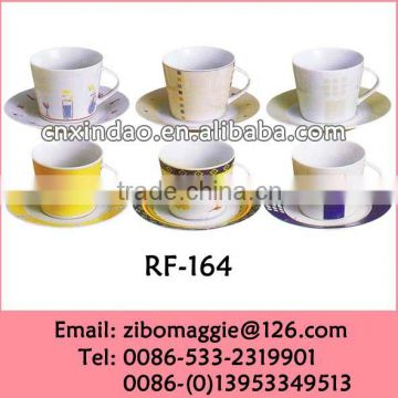 Popular Beautiful Wholesale Zibo Made Porcelain Promotion Water Cup Saucer for Kids