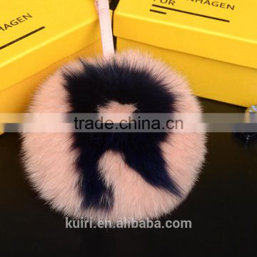 custom ABC harms initial pom pom handmade big real fox fur ball with a real leather strap keychains letter Bag Bug Charm