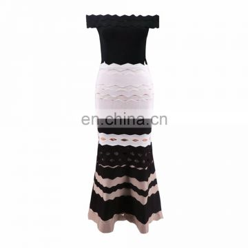 2018 New arrival European style wave fishtail sexy bodycon bandage long lady skirt