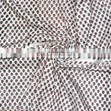 Hand Block Printed Indian Cotton Natural Fabric Print Running Sanganeri