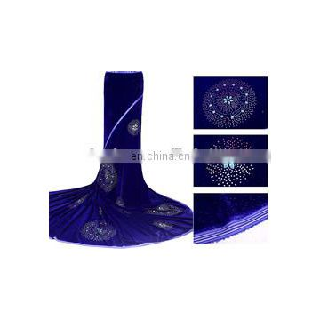 Royal blue swiss velvet lace fabric