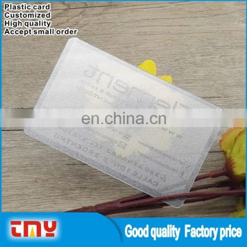 Wholesale Alibaba Quality Plastic PVC Name Card Transparent Business Card Printing