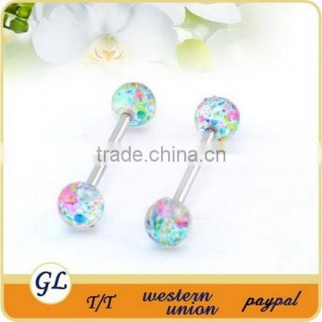 BA01002 acrylic colorful ball industrial barbell jewelry