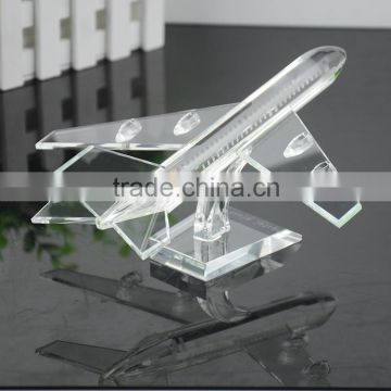 pure clear crystal propeller-driven aircraft/airline/Boeing aeroplane for crystal transport models with engraved (R-1051