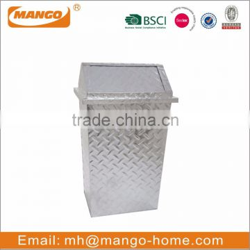 Shiny Galvanized Steel Diamond Plate Push Door Garage Garbage Can