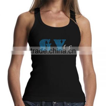 2016 Custom Logo Rhinestone Transfer Design Women Black Tank Top Wholesale China