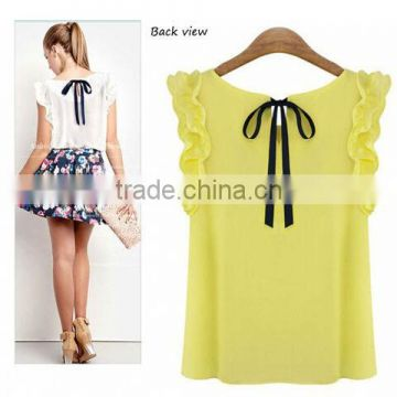 Manufacture Woman Chiffon polyester Blouse shirts Sleeveles Sexy Casual Tops Clothings