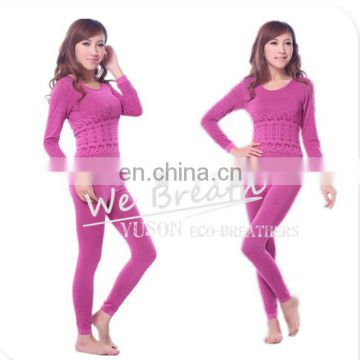 Bamboo Fiber Women Thermal Undergarment Designed Jacquard Rounded