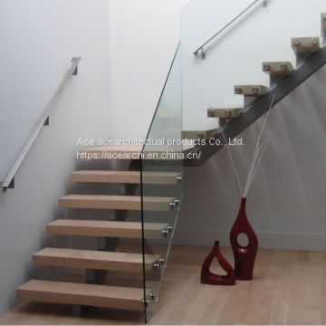 the most fashionable floating steel staircase with wood step