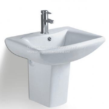 Ceramic semi bathroom square single hole white color hung basin sink with single hole