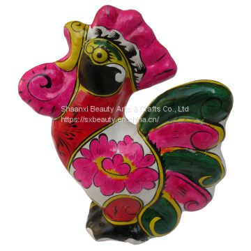 clay sculpture Chinese Zodiac business gift  painted rooster birthday gift