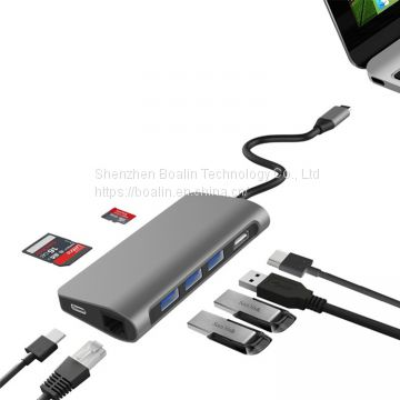 BL-U603 TYPE-C TO USB3.0x3+HDMI+RJ45+PD+SD/TF HUB 8 in 1