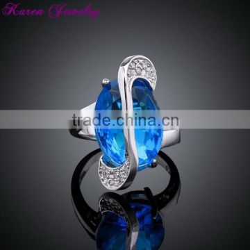 New Big Sapphire Blue Zircon Crystal Ring Party Engagement Wedding Rings for Women Platinum Plated Lord of the Rings