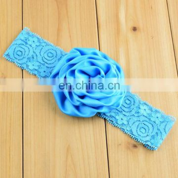 Wholesale 14 colors elastic lace band with ribbon rose for girls headband
