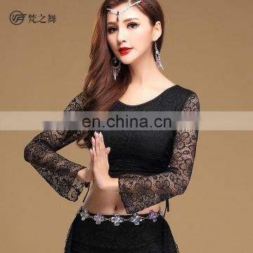 S-3102 Hot sales beautiful lace sexy belly dance top