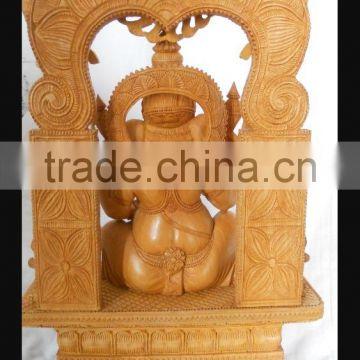 Wooden Handicraft Wood Carving Hindu God Ganesha Rich Art And Craft