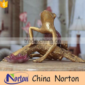 Table decorative beautiful gold and pink frog animal sculpture for sale gifts NTRS-AD013Y