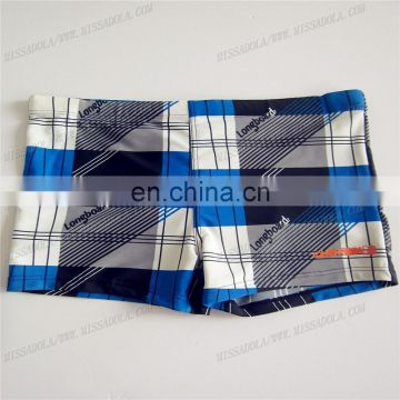 2015 sexy men swimwear plaid swim trunk with logo