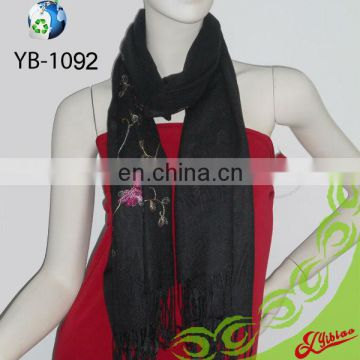 New Floral Embroidery Customized Long Fashion Acrylic Scarf for Promotion