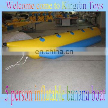 5 seat inflatable banana boat in sea