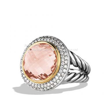 Sterling Silver Women 14mm Cerise Ring with Morganite, Diamonds and Rose Gold Plated