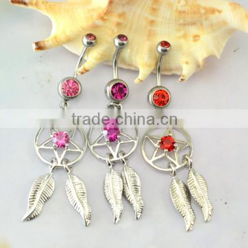 costume body jewelry 14 mm hanging dream catcher belly ring
