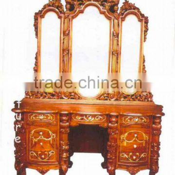 Wood carving Dressing table with 3 panels