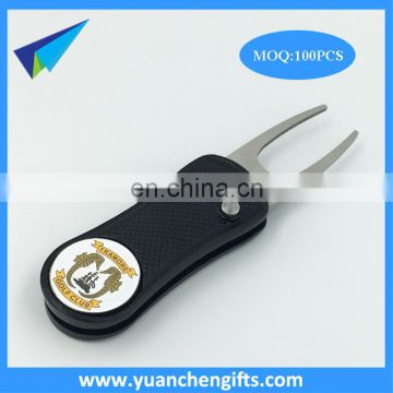 2017 free sample golf folding pitchforks / customized automatic divot tools