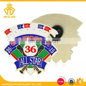 Customized Soft Enamel Baseball Pin Badge with Sporter Number