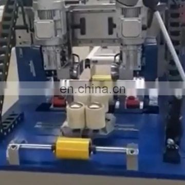 Automatic knurling machine and strip insertion for aluminum window and door