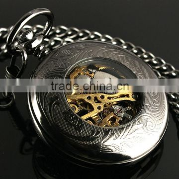 ESS Black Stainless Steel Skeleton Mechanical Pocket Watch WP117
