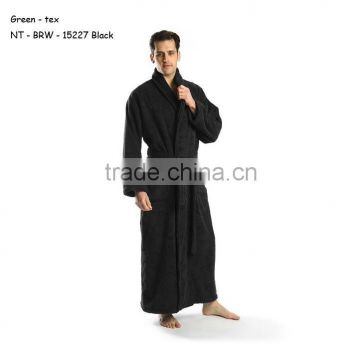 Black Terry Bathrobe, 100% Combed Pure Cotton Terry Robe