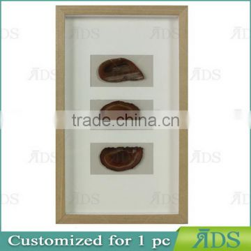 8X8 Shadow Box Frame with Natural Agate Stone Under Glass