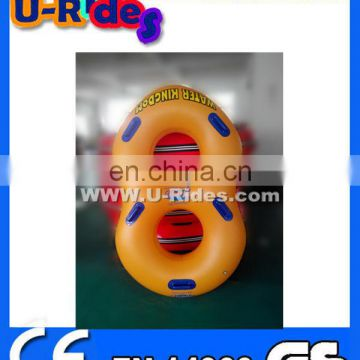 Orange Color Inflatable Water Double Tube With Handles