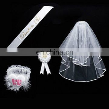 Bride to be Decoration Set for Bachelorette Party Supply(White Double Ribbon Edge Center Cascade Bridal Wedding Veil with Comb