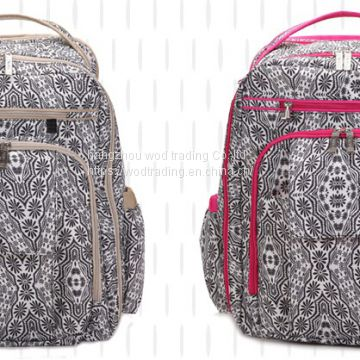 full printed polyester diaper backpack bag with tote