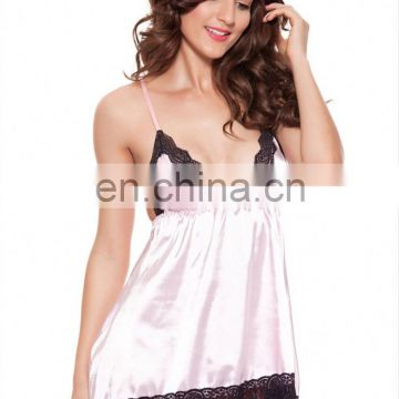 Hot Sale Xl Size Long Sexy Sheer Nightgown Pink Girl Silk Nightwear