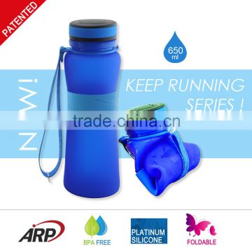 650ml 22oz Best quality Sport Drink Bottle Foldable silicone water bottle with popular lid Platinum silicone BPA free LFGB                                                                         Quality Choice