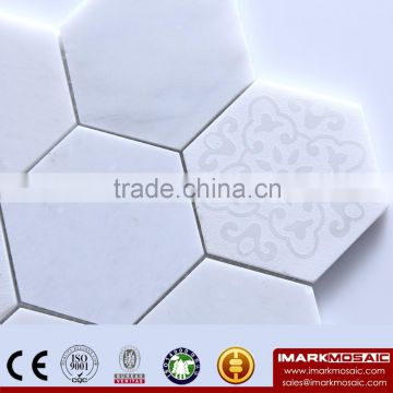 IMARK Polished Hexagon Hanba Jade White Marble Mosaic Tile Kitchen Bathroom Tile Backsplash Tile