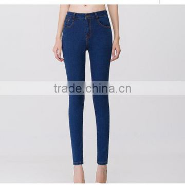 2017 summer latest design high waist wash black soft slim denim pencil jeans for lady