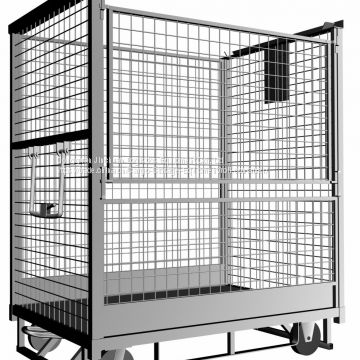 Material Handling Folding Roll Security Cage Trolley Zinc Plated