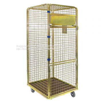 Supermarket Foldable Warehouse Roll Cages With Four Wheels