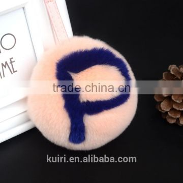 Rex rabbit fur ball/ Fox fur Letters Pom Doll Ball keychain bag charms