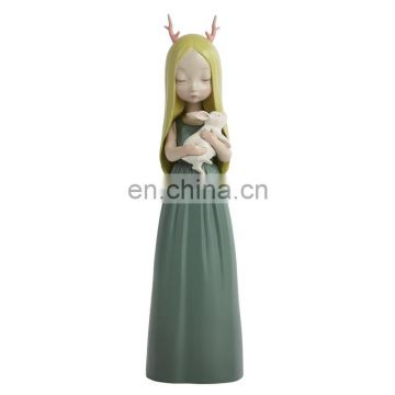 lifelike cartoon standing girl figure hold little rabbit