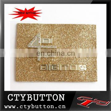 luxury gold label with rhinestone design for women clothes