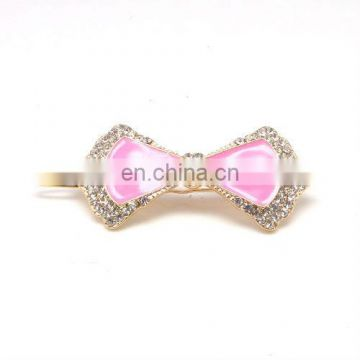 Fashion metal rhinestone bow hair pin accessories